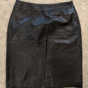 Kasper Women's Size 12P BlackLeather SkirtSide Zip